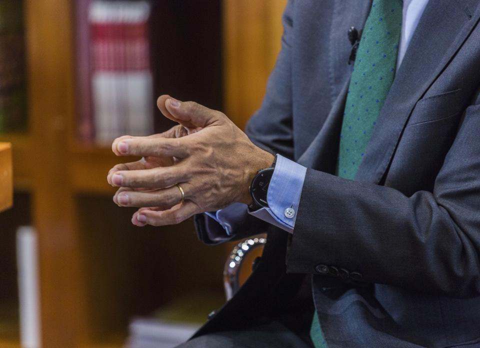 El consejero Rafael van Grieken apoya su respuesta gesticulando con sus manos - Foto: Jesús Umbría