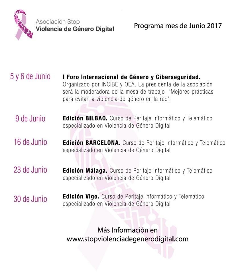Programa cursos junio Asociación Stop Violencia de Género Digital
