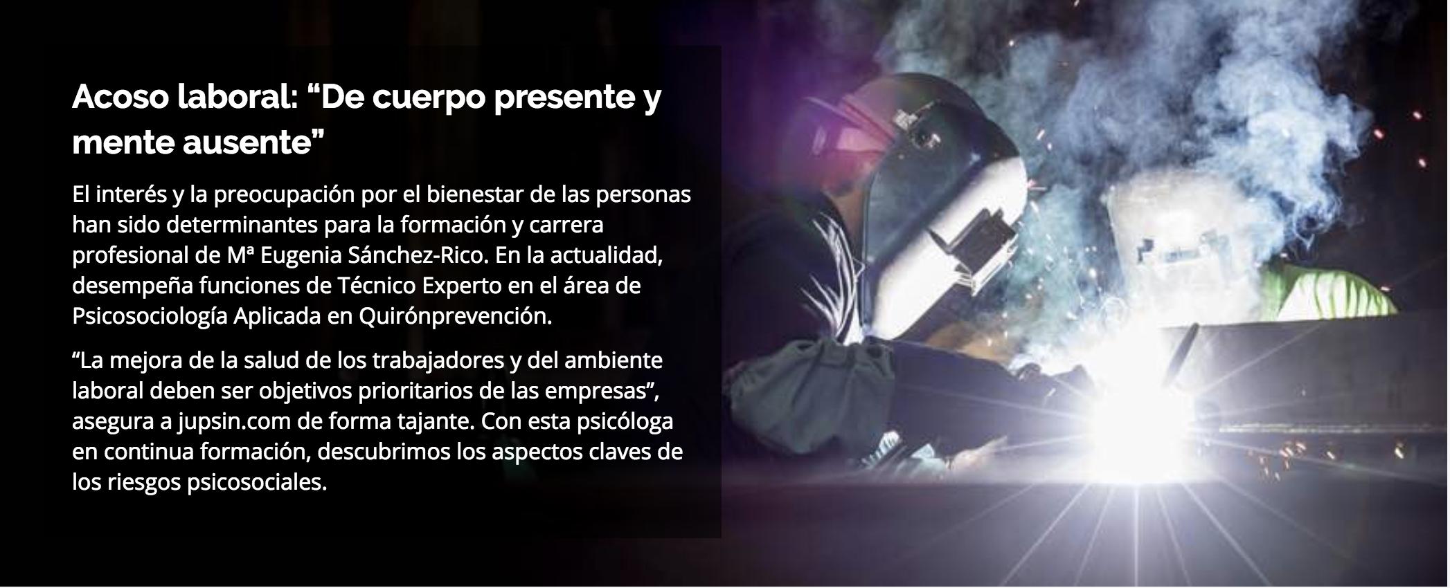 Quirónprevención - jupsin.com - acoso laboral - riesgos psicosociales